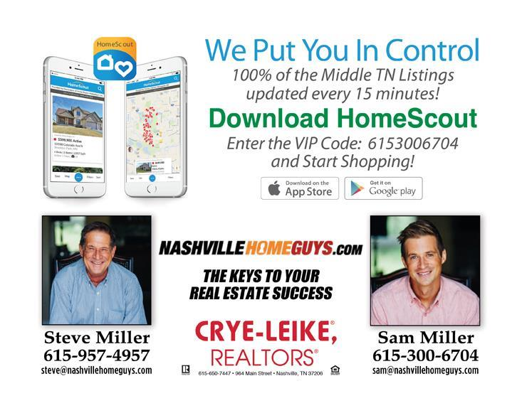 Download the HomeScout App provided by your realtor in Nashville, TN