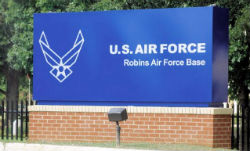 A sign offering military relocation in Warner Robins, GA