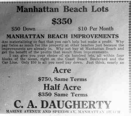 Ad for lots in Manhattan Beach