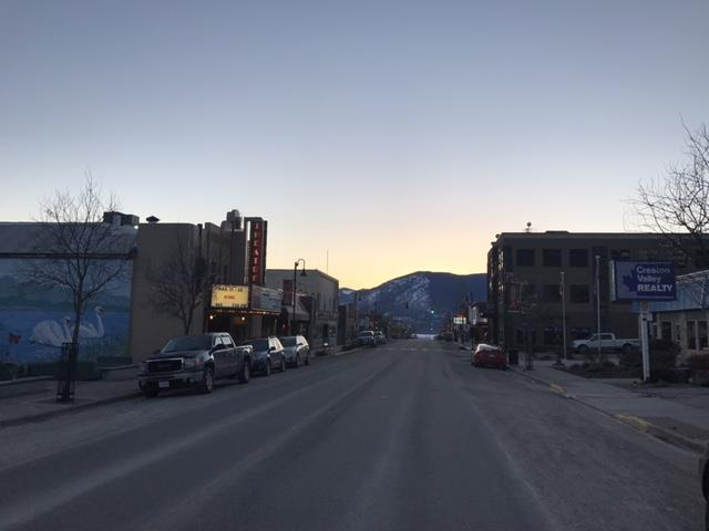 image of downtown Creston at sunset