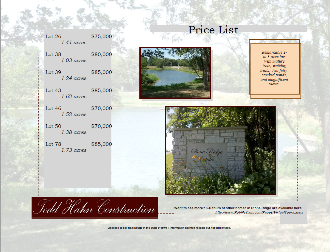 Stone Ridge Lot Pricing Sheet