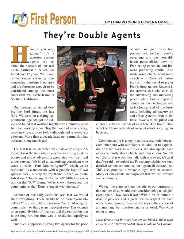 California Association of Realtors magazine article about Fran and Rowena