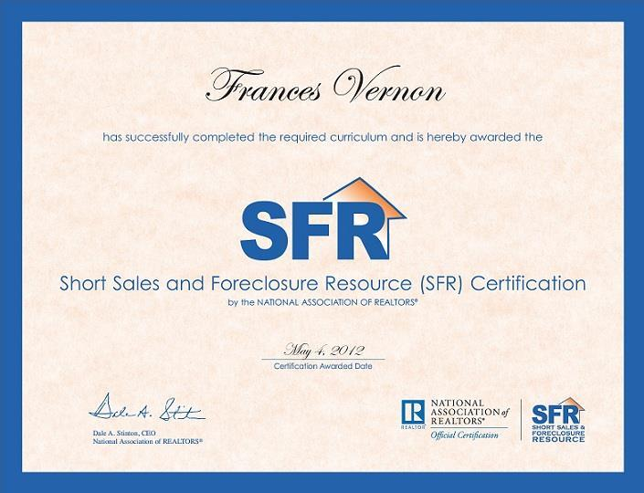 Certificate - Short Sales and Foreclosure Resource (SFR®)