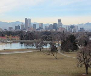 Denver skyline behind City Park