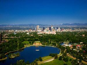Sloans Lake Denver skyline view from above