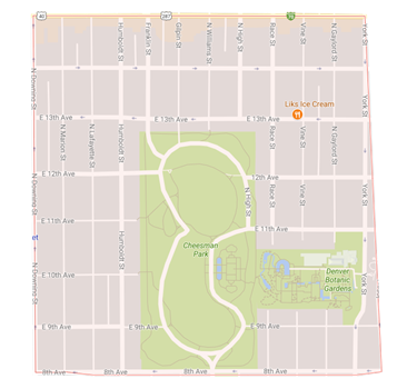 map cheesman park